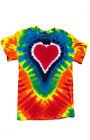 "Groovy Blueberry Unisex Men and Women's Tie-Dye ""Rainbow Heart"" T Shirt"