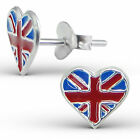 925 Sterling Silver Children Stud Earrings Flag Heart Patriot Sign Badge Country