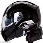 GLOSS BLACK MOTORCYCLE SNOWMOBILE DUAL VISOR MODULAR HELMET DOT size: S/M/L/XL
