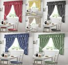 GINGHAM CHECK CURTAINS INC FREE TIEBACKS / KITCHEN CURTAINS PENCIL PLEAT TOP