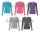 Ladies VANITY ZEN Thermal T-shirts Womens S-XL 2XL j america Long Sleeve Burnout
