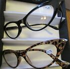 2 pair Womens new Cat Eye style CLEAR READING GLASSES select your power