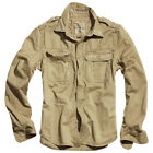 SURPLUS ARMY RAW VINTAGE MENS SHIRT LONG SLEEVE VINTAGE LOOK COTTON BEIGE S-XXL