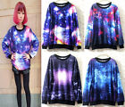 Women's Galaxy Space Starry Print long Sleeve Top Round T Shirt  Jumper Sweater