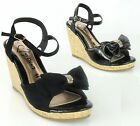LADIES WOMENS CORK STYLE SUMMER WEDGE HEEL STRAPPY BOW SANDALS SHOES SIZE