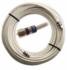 Coaxial Cable - White Solid Copper- Digicon F Connectors- US Made- 50 / 150 Feet