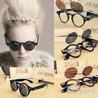 NEW Round Eyeglasses Metal Frame Spectacles Retro Double Flip Punk Sunglasses