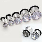 Clear Zircon Zirconia Hollow Stainless Steel Ear Tunnel Plug Expander Stretcher