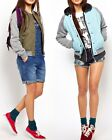 Bellfield Womens Quilted Bomber Jacket Sweat Sleeves Quilted Varsity Coat Top
