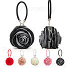 Satin Rose Evening Wedding Party Clutch Handbag Bag Women's Bridal Accessories