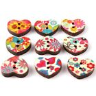 100/500pcs Wholesale Wooden Mixed Colors 5 Styles Charms Sew-on Flatback Buttons