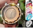 40mm Womens Girls Faceted Crystal Decorated Dial Quartz Analog Watch,Candy Color