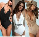 s9 Padded Fringes Swimsuit Swimwear Monokini Black  White Bikini UK 6-16 XS-XL