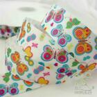 """7/8""""22mm cute white colorful butterfly grosgrain ribbon craft 5/50 yards"""