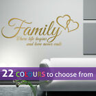 FAMILY where life begins and love never ends quote wall art sticker decal words
