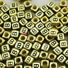 """""""B"""" Gold Cube Alphabet Letter Acrylic Plastic 6x6mm (1/4"""") Spacer Beads"""