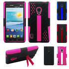 LG Lucid 2 VS870 Perforated Kickstand Hybrid Silicone Rubber Skin Case Cover