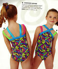 NWT Gymnastics leotard MultiColor Wiggles w/ double straps Scrunchie Girls szs