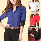 2013 New Fashion Women's Chiffon Lace Middle Sleeve Blouse Tops T-shirts 4Colors