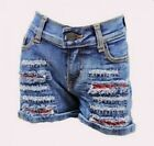 Girls denim jeans shorts distressed ripped summer clothing