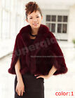 New 100% Real Genuine Knit Mink Fur Fox Collar Stole Cape Shawl Scarf Coat Women