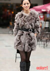 100% New Real Genuine Fox Fur Coat Outwear Jacket belt clothing vintage warm