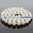 Genuine Freshwater White Off-Round Pearl & Crystal Necklace/Choker | FJUS