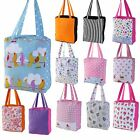 Designer 100% Cotton Tote Shopping Shoulder Beach Gym Bags Children Small Large