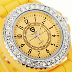 Ladies Womens Girl Girls Casual Sport Crystal Bling Jelly Rubber Wrist Watch