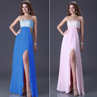Sexy Beaded Strapless Womens Party Prom Ball Cocktail Long Evening Dress Gown GK