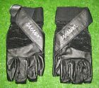 Mens Cross X Training Weight Lifting Gloves Leather Fitness Padded Palms Black