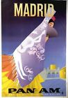 Vintage Pan Am Flights to Madrid Poster A3 / A2 Print