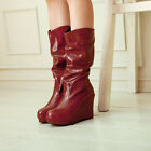 New Womens Pleated Round Toe Wedge Mid Calf Boots Black Brown Red Size 4.5-9.5