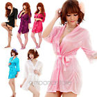 Sexy SILK LACE Kimono Dressing Gown Bath Robe Babydoll Lingerie Underwear Thong