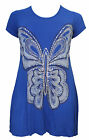 NEW LADIES SEQUIN BUTTERFLY PRINT WOMENS HANKY HEM SHORT SLEEVES PLUS SIZE TOP