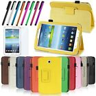 "PU LEATHER CASE COVER FOR SAMSUNG GALAXY TAB 3 7"" WITH STAND + CHOOSE ACCESSORY"