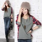 Lady/Girl`s Plaid Checked Long Sleeve Casual Loose T shirt Tops Blouse New