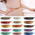Lady Women's Thin Narrow Skinny 1.2cm Wide Waist Belt Waistband    Hogskin Leather