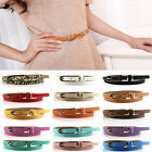 Women's Lady Thin Narrow Skinny 1.2cm Wide Waist Belt Waistband Hogskin Leather