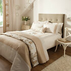 Rich Floral Embroidered Faux Silk Duvet Cover Set, Natural