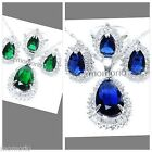 37mm 18KGP water pear drop round cz CRYSTAL pendant necklace earrings ring set