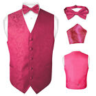 Men's Hot Pink Fuchsia Paisley Design Dress Vest and BOWTie Set