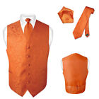 Men's Burnt Orange Paisley Design Dress Vest and NeckTie Set for Suit or Tuxedo
