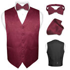 Men's Burgundy Paisley Design Dress Vest and BOWTie Set for Suit or Tuxedo