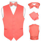 Men's CORAL PINK Dress Vest BOWTie Set for Suit or Tuxedo
