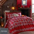 Stockhom Red Flannelette Duvet Cover, Luxury Soft Cotton, Single Double King