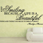 Marilyn Monroe Smiling Beautiful Wall Art Sticker Stickers Decal Quote Vinyl 15