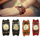 Retro Punk Skull Stars Skeleton Leather Alloy Quartz Wrap Wrist Watch Bracelet