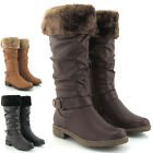 LADIES KNEE HIGH WINTER FUR CUFF FLAT LOW HEEL WOMENS BIKER RIDING BOOTS SIZE