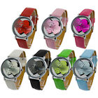 Special Style Double Dial Plate Quartz Ladies Womens Leatheroid Band Wrist Watch